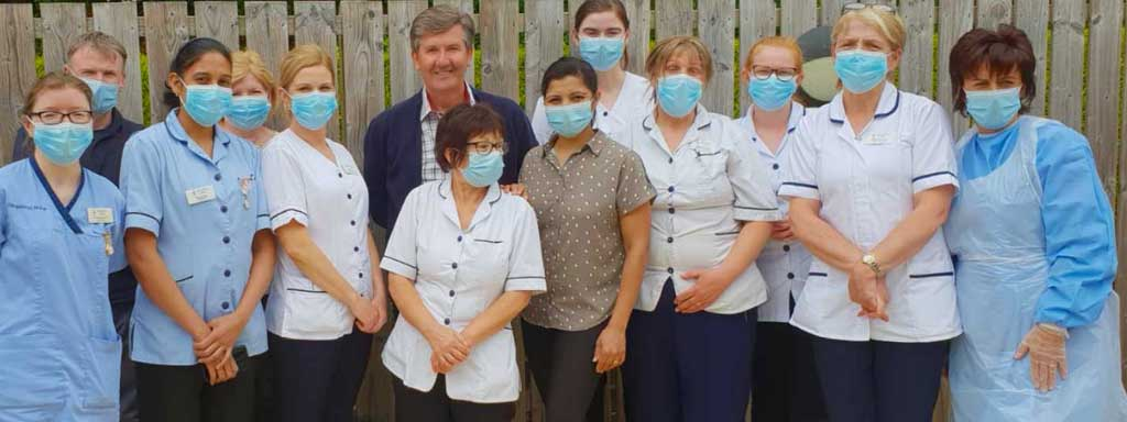Care home staff with Daniel O'Donnell